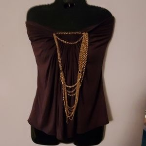 Sky Brown Strapless Blouse - S